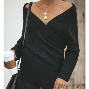 VICI COLLECTION Wrap me up Sweater Black Small